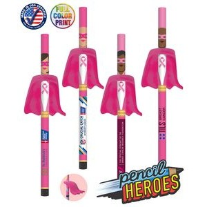 Pencil Heroes - Breast Cancer Superhero Pencils with Eraser Capes - USA Made