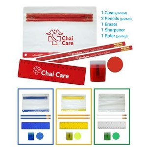 School Kit - Eco Pencils - Sharpener - Ruler - Round Eraser