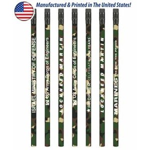 USA Made Forest Camo Pencil w/ Black Eraser, #2 lead