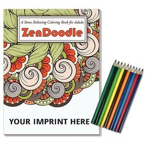 Relax Pack - ZenDoodle Coloring Book for Adults + Colored Pencils