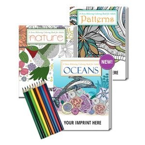 Gift Pack - 3 Stress Relieving Coloring Books for Adults + 10-Pack of Colored Pencils