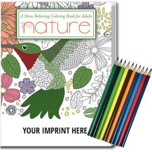 Relax Pack - Nature Coloring Book for Adults + Colored Pencils