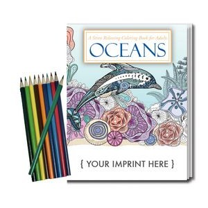 Relax Pack - Oceans Coloring Book for Adults + Colored Pencils