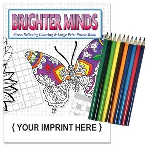 Relax Pack - Brighter Minds adult coloring puzzle book combo + Colored Pencils