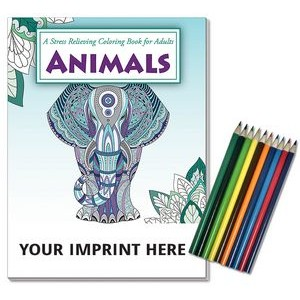 Relax Pack - Animals Coloring Book for Adults + Colored Pencils