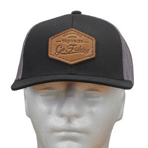 Leather Patch Hats - Standard Trucker Mesh Snapback Hat with Leather Patch (T2 Base Pricing)