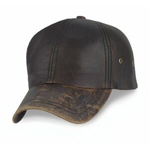 Stonewashed Top Grain Leather 6 Panel Cap w/ Metal Buckle