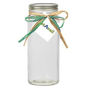 16 Oz. Contemporary Glass Mason Jar w/ Raffia Bow (Empty)