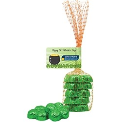 Chocolate Shamrocks in Mesh Bag