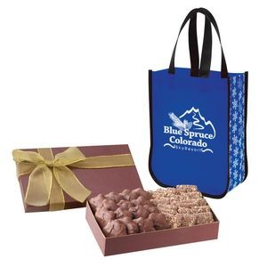 Executive Gift Set With Snow Flurry Lola Laminated Non-Woven Tote Bag