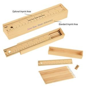 12-Piece Colored Pencil Set In Wooden Ruler Box