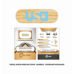Wood Webcam Cover Swivel with Standard Packaging